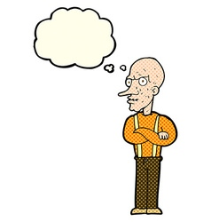 cartoon mean old man with thought bubble vector image