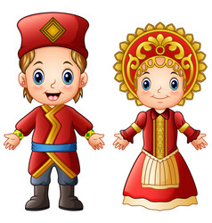 Cartoon russian couple wearing traditional costume vector