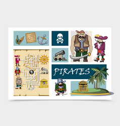 cartoon sea pirates concept vector image