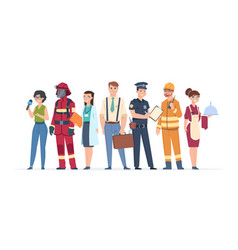 Characters professions factory workers business vector