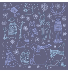 Christmas animals set vector