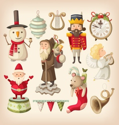 Christmas retro toys vector