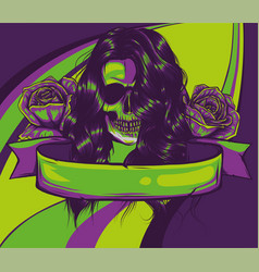 Color woman skull with roses vector