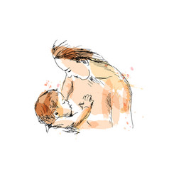 Colored hand sketch nursing mother with baby vector