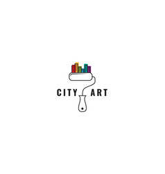 Colorful city and brush paint logo design art vector
