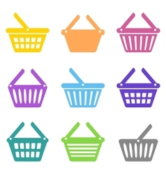 Colorful shopping basket icons vector