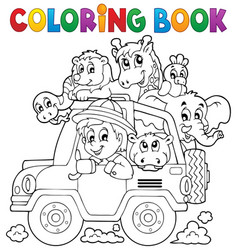 Coloring book car traveller theme 2 vector