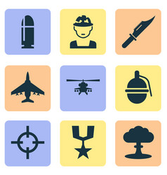 combat icons set collection of target bombshell vector image