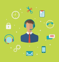 Concept of call center with operator man vector