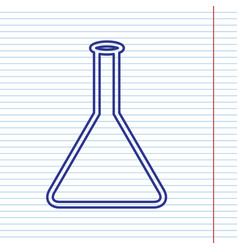 Conical flask sign laboratory glass sign vector