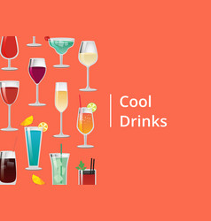 Cool drinks set of tropical cocktails orange juice vector