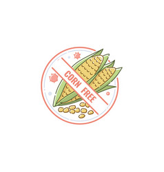 corn free icon and lable mark for healthy and vector image
