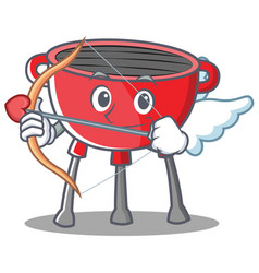 Cupid barbecue grill cartoon character vector