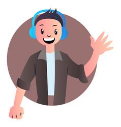 Cute cartoon boy with headphones on white vector