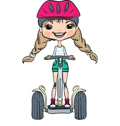 Cute hipster baby girl on Segway vector image