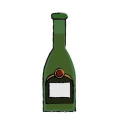 Drawing green bottle champagne plastic cork vector