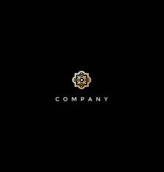 Elegant luxury golden flower pattern logo design vector