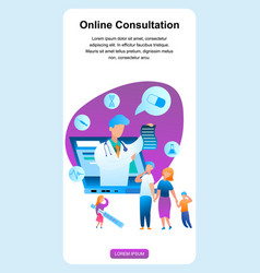 Family with sick child communicate pediatrician vector