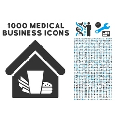 Fastfood Cafe Icon with 1000 Medical Business vector