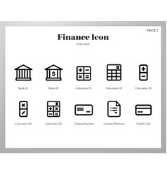 Finance icons line pack vector