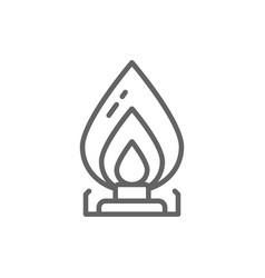 gas stove oil burner line icon vector image