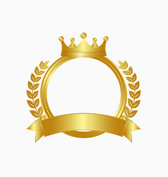 Gold crown and wreath logo vector