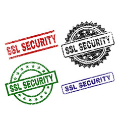Grunge textured ssl security stamp seals vector