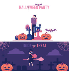 halloween horizontal greeting banners set with vector image