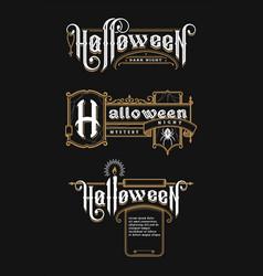 halloween vintage font set emblem in old vector image