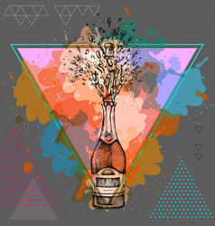 Hand drawing of champagne bottle with splash vector