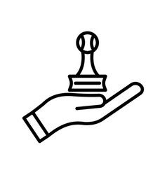 Hand line icon with trophy table tennis icon vector