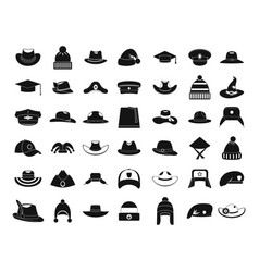 hat icon set simple style vector image