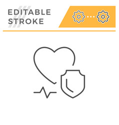 health insurance editable stroke line icon vector image