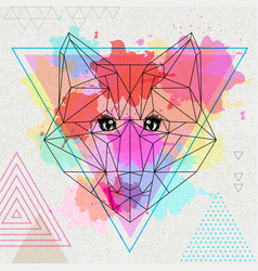 Hipster polygonal animal fox on artistic vector