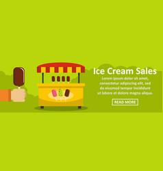 Ice cream sales banner horizontal concept vector