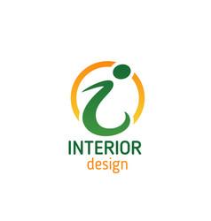 Interior design emblem for business card template vector