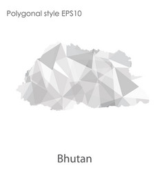 Isolated icon bhutan map polygonal geometric vector
