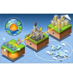 Isometric Infographic Geothermal Energy Harvesting vector image