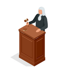 Isometric male judge in a wig with a hammer law vector