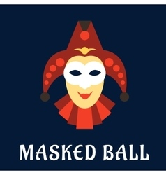 Jester mask with collar and hat vector