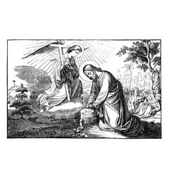 Jesus prays in gethsemane and talking vector