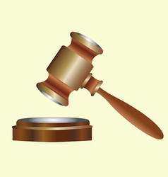 Judges wooden gavel with metal inserts vector
