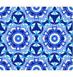 Kaleidoscopic lace blue flower ornament vector
