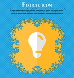 light bulb idea Floral flat design on a blue vector image
