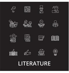literature editable line icons set on black vector image