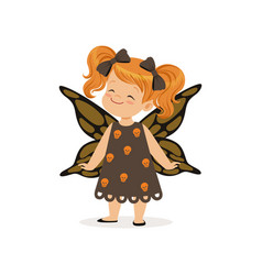 Little girl dressed as a butterfly cute kid in vector