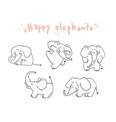 little happy elephats playing line vector image