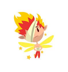 Little winged fiery elf boy with eye patch cute vector