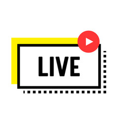 live streaming banner with play button online vector image