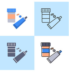 Medication icon set in flat and line style vector